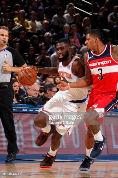 Tim Hardaway Jr #3 of the New York Knicks handles the ball against the Washington Wizards on October 13 2017 at Madison Square Garden in New York...