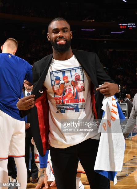 Tim Hardaway Jr #3 of the New York Knicks looks on against the Atlanta Hawks at Madison Square Garden on December 10 2017 in New York New York NOTE...