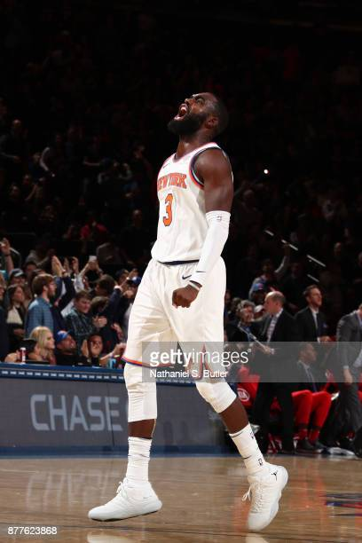 Tim Hardaway Jr #3 of the New York Knicks reacts during the game against the Toronto Raptors on November 22 2017 at Madison Square Garden in New York...