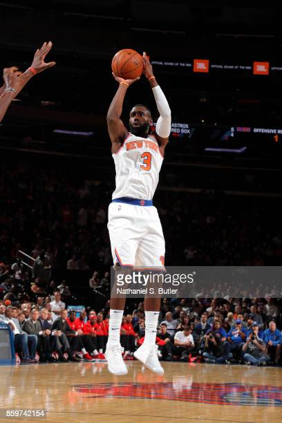 Tim Hardaway Jr #3 of the New York Knicks shoots the ball against the Houston Rockets during the preseason game on October 9 2017 at Madison Square...