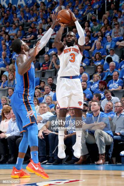 Tim Hardaway Jr #3 of the New York Knicks shoots the ball against the Oklahoma City Thunder on October 19 2017 at Chesapeake Energy Arena in Oklahoma...