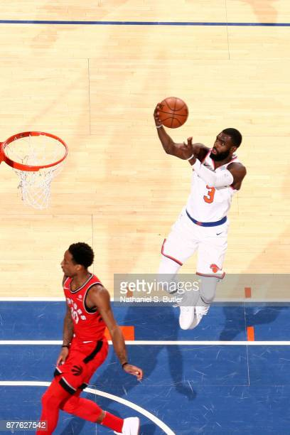 Tim Hardaway Jr #3 of the New York Knicks shoots the ball during the game against the Toronto Raptors on November 22 2017 at Madison Square Garden in...