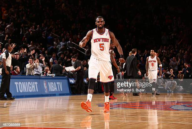 Tim Hardaway Jr #5 of the New York Knicks after scoring a three pointer during a game against the Portland Trail Blazers at Madison Square Garden in...