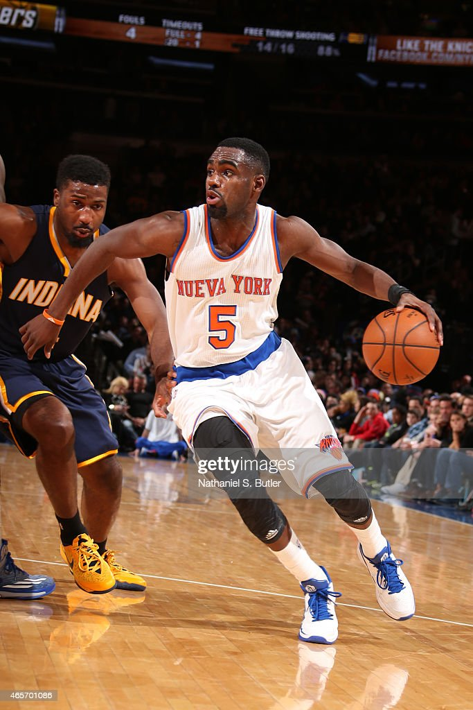 Tim Hardaway Jr. #5 of the New York Knicks drives against the Indiana Pacers on March 7, 2015 at Madison Square Garden in New York City.