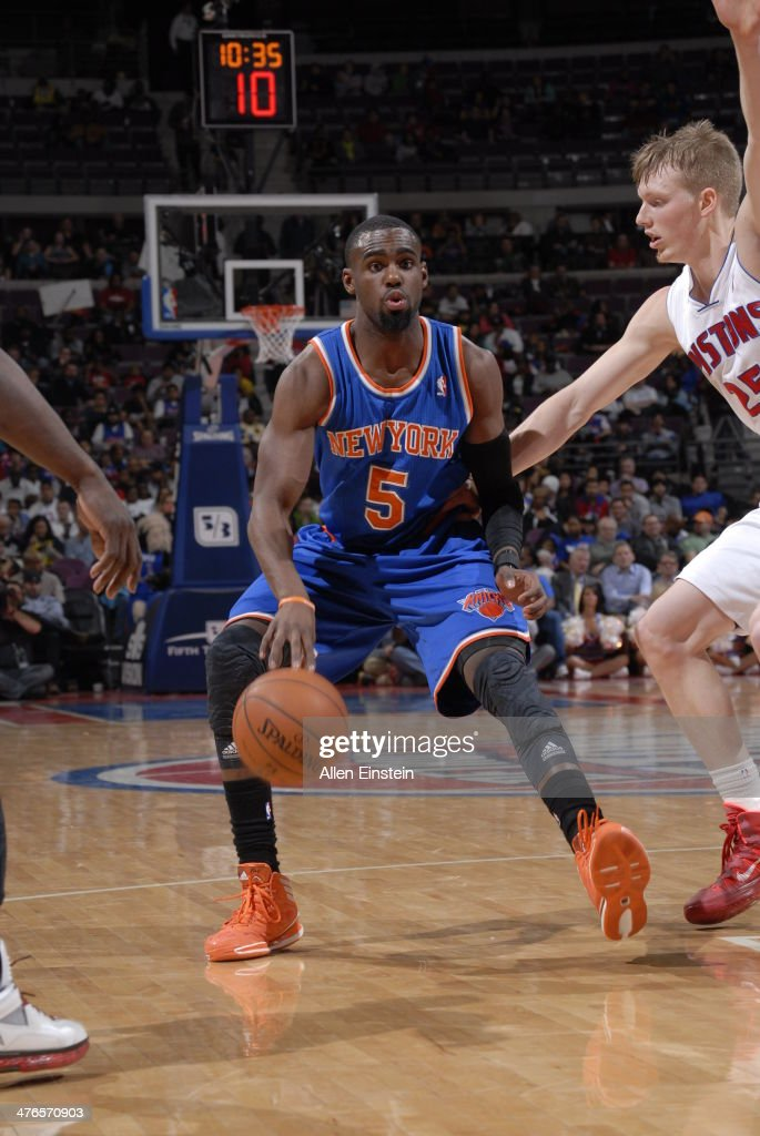 Tim Hardaway Jr. #5 of the New York Knicks handles the ball during a game against the Detroit Pistons on March 3, 2014 at The Palace of Auburn Hills in Auburn Hills, Michigan.
