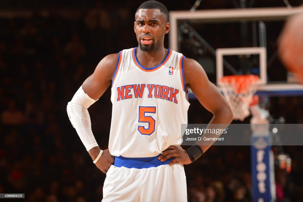 <a gi-track='captionPersonalityLinkClicked' href=/galleries/search?phrase=Tim+Hardaway+Jr.&family=editorial&specificpeople=7481128 ng-click='$event.stopPropagation()'>Tim Hardaway Jr.</a> #5 of the New York Knicks looks on against the Charlotte Bobcats during the game on November 5, 2013 at Madison Square Garden in New York City, New York.