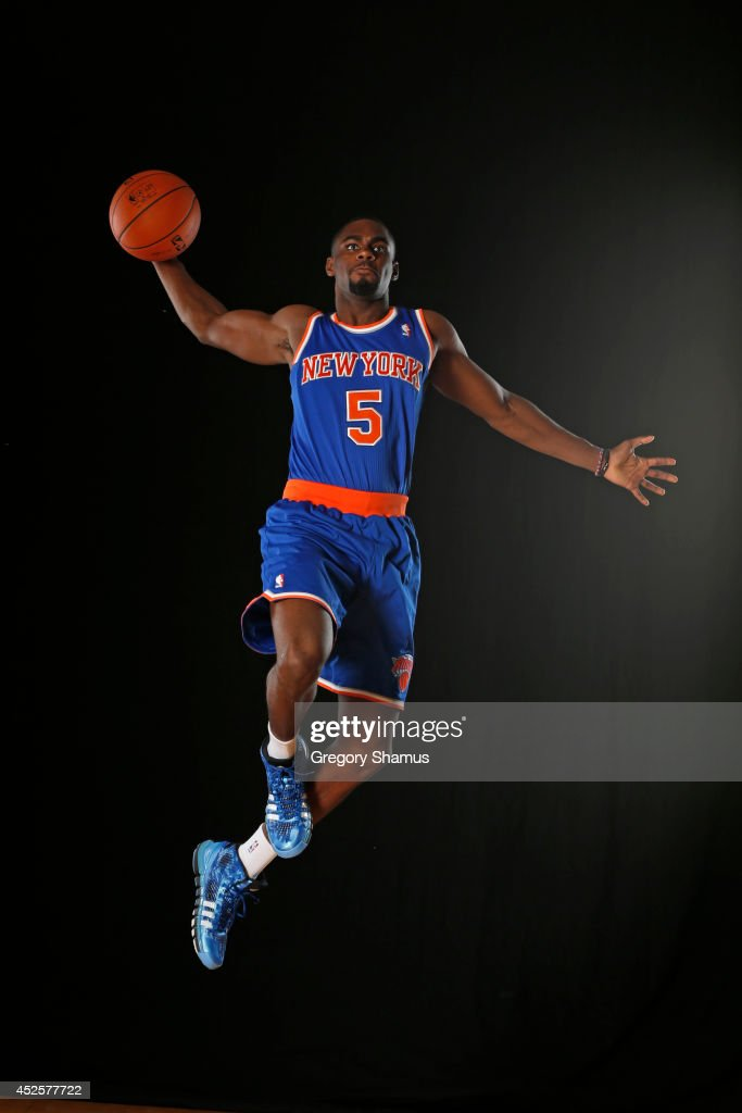 Tim Hardaway Jr. #5 of the New York Knicks poses for a portrait during the 2013 NBA rookie photo shoot on August 6, 2013 at the Madison Square Garden Training Facility in Tarrytown, New York.