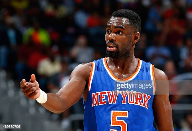 Tim Hardaway Jr #5 of the New York Knicks reacts after a basket against the Atlanta Hawks at Philips Arena on April 13 2015 in Atlanta Georgia NOTE...