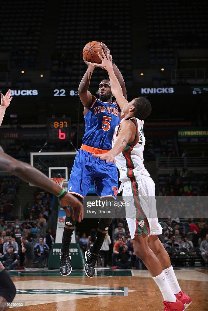 Tim Hardaway Jr. #5 of the New York Knicks shoots against the Milwaukee Bucks on February 3, 2014 at the BMO Harris Bradley Center in Milwaukee, Wisconsin.