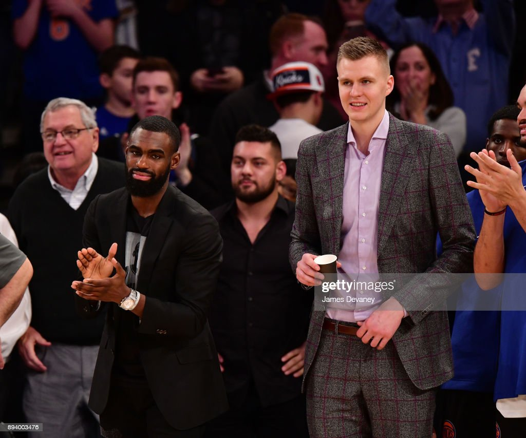 Tim Hardaway Jr. and Kristaps Porzingis attends the Oklahoma City Thunder Vs New York Knicks game at Madison Square Garden on December 16, 2017 in New York City.