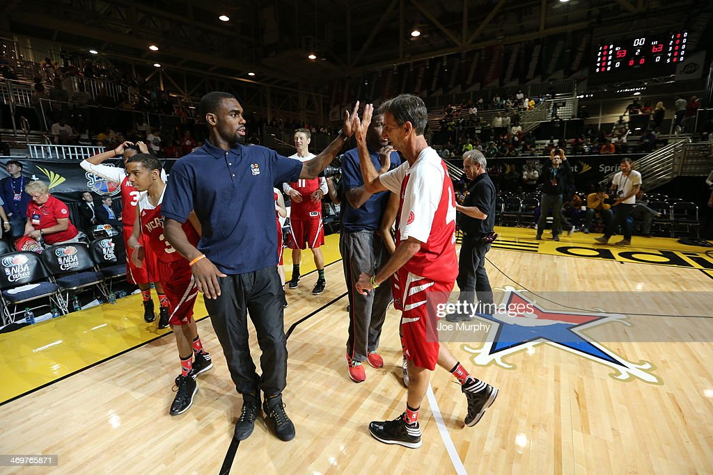 Tim Hardaway Jr. Coach of the West Team high-fives a player during the NBA Cares Special Olympics Unified Sports Basketball Game at Sprint Arena during the 2014 NBA All-Star Jam Session at the Ernest N. Morial Convention Center on February 16, 2014 in New Orleans, Louisiana.