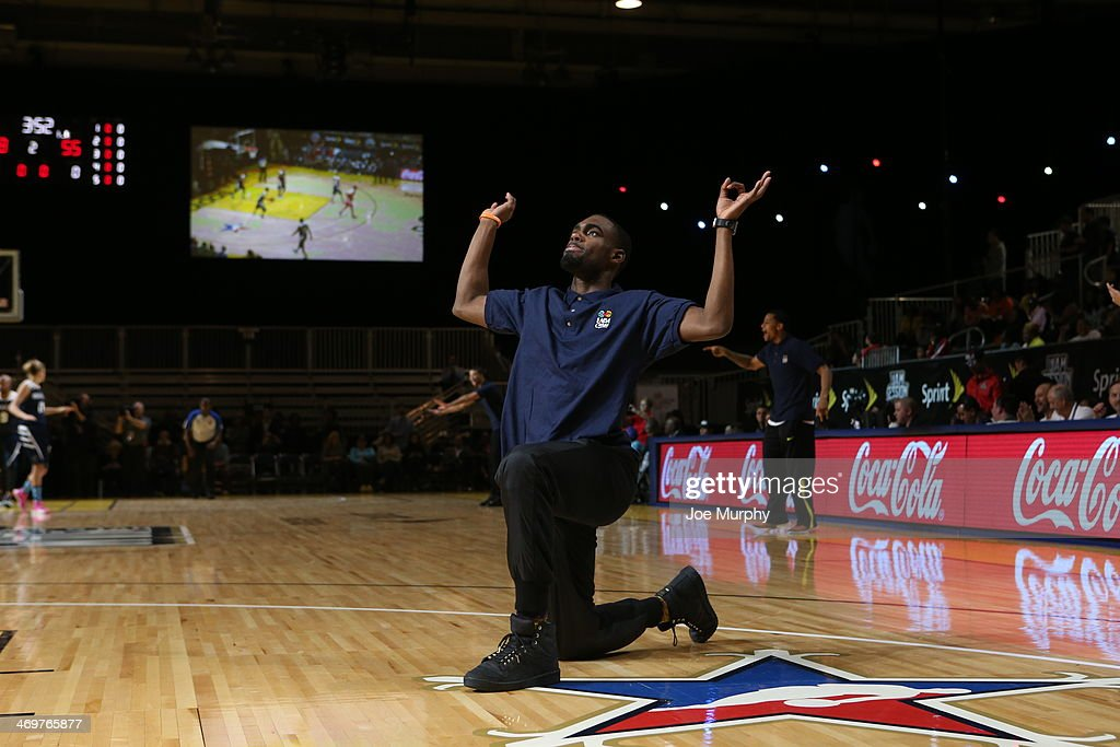 Tim Hardaway Jr. of the New York Knicks and Coach of the West Team reacts to a play during the NBA Cares Special Olympics Unified Sports Basketball Game at Sprint Arena during the 2014 NBA All-Star Jam Session at the Ernest N. Morial Convention Center on February 16, 2014 in New Orleans, Louisiana.