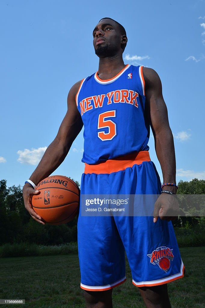 Tim Hardaway Jr. of the New York Knicks poses for a portrait during the 2013 NBA Rookie Photo Shoot on August 6, 2013 at the MSG Training Facility in Tarrytown, New York.