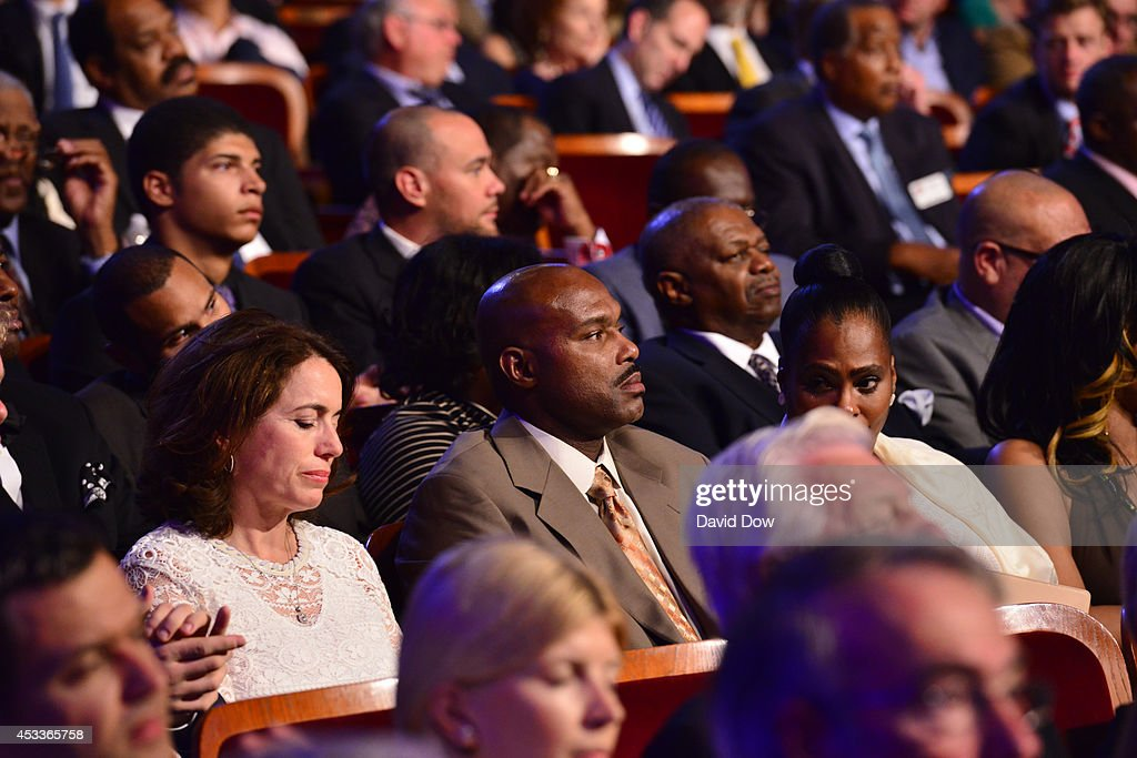 <a gi-track='captionPersonalityLinkClicked' href=/galleries/search?phrase=Tim+Hardaway&family=editorial&specificpeople=210592 ng-click='$event.stopPropagation()'>Tim Hardaway</a> takes in the 2014 Basketball Hall of Fame Enshrinement Ceremony on August 8, 2014 at the Mass Mutual Center in Springfield, Massachusetts.