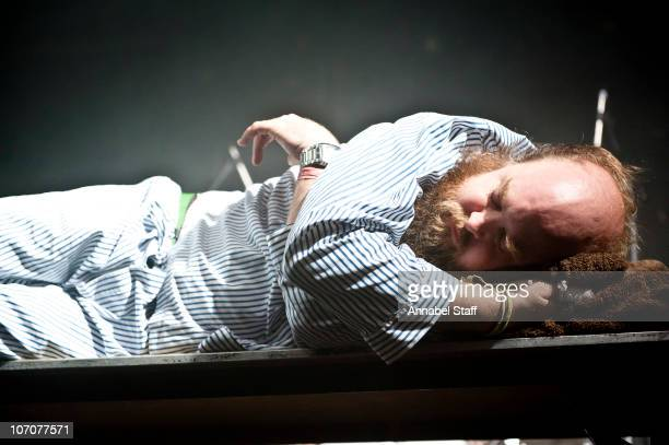 Tim Harrington of Les Savy Fav performs on stage at Electric Ballroom on November 22 2010 in London England