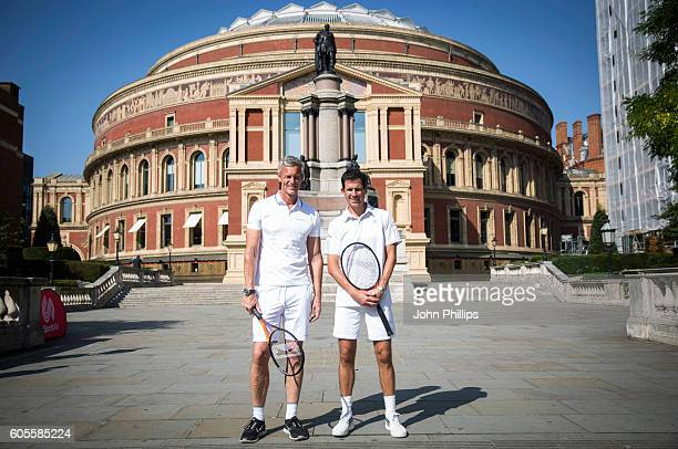 Tim Henman and Mark Foster attend a photocall to launch Champions Tennis in partnership with SportsAid at Royal Albert Hall on September 14 2016 in...