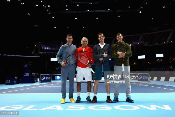 Tim Henman Mansour Bahrami Andy Murray and Jamie Murray pose for photos during Andy Murray Live at The Hydro on November 7 2017 in Glasgow Scotland