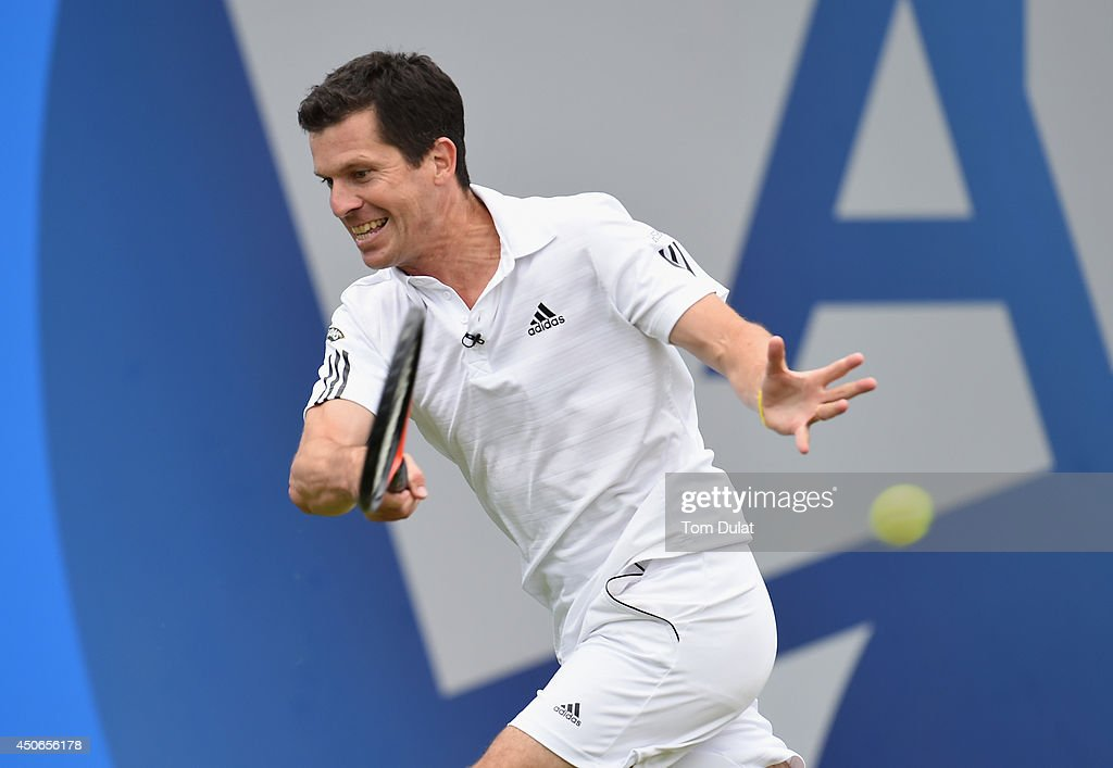 <a gi-track='captionPersonalityLinkClicked' href=/galleries/search?phrase=Tim+Henman+-+Tennis+Player&family=editorial&specificpeople=167277 ng-click='$event.stopPropagation()'>Tim Henman</a> of England takes part in an exhibition match to honour the late Elena Baltacha during Day Seven of the Aegon Classic at Edgbaston Priory Club on June 15, 2014 in Birmingham, England.