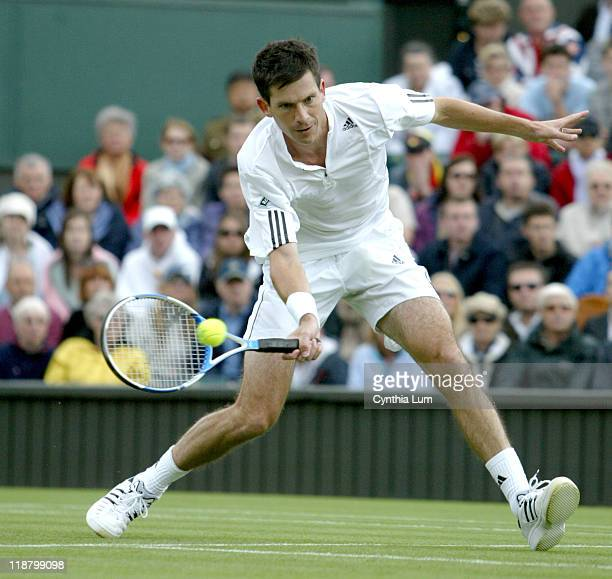 Tim Henman of Great Britain during his 63 16 57 62 1311 victory over Spain's Carlos Moya in the first round of the 2007 Wimbledon Championships at...