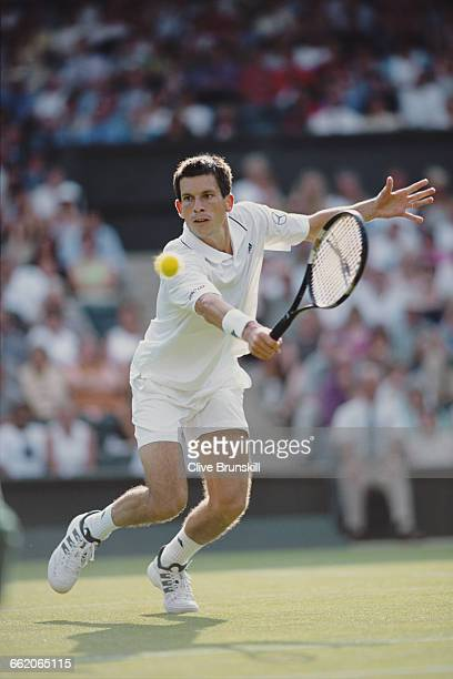Tim Henman of Great Britain during his Men's Singles second round match of the Wimbledon Lawn Tennis Championship against Martin Lee on 27 June 2001...