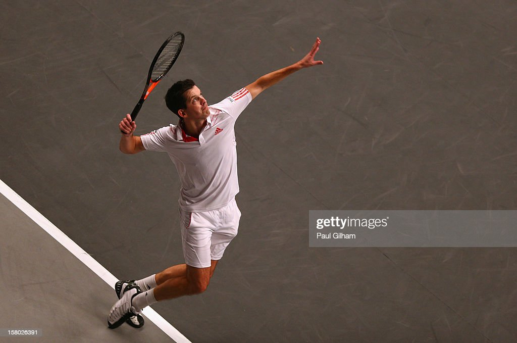 Tim Henman of Great Britain serves during the ATP Champions Tour Final between Tim Henman of Great Britain and Fabrice Santoro of France during the Statoil Masters Tennis at Royal Albert Hall on December 9, 2012 in London, England.