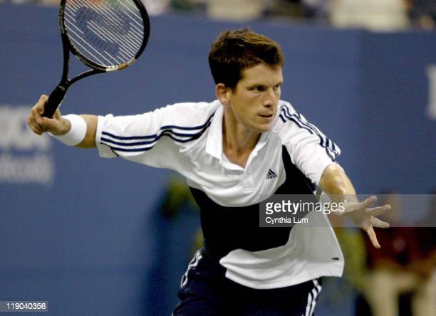 Tim Henman out of US Open with first round loss to Andy Roddick at the 2003 US Open in Queens New York on August 26 2003 Roddick won 63 76 63