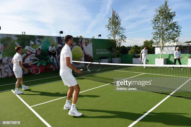 Tim HenmanGoran Ivanisevic Judy Murray and Anton du Beke pose for pictures during a tennis lesson to promote HSBC's sponsorship of Wimbledon on HSBC...