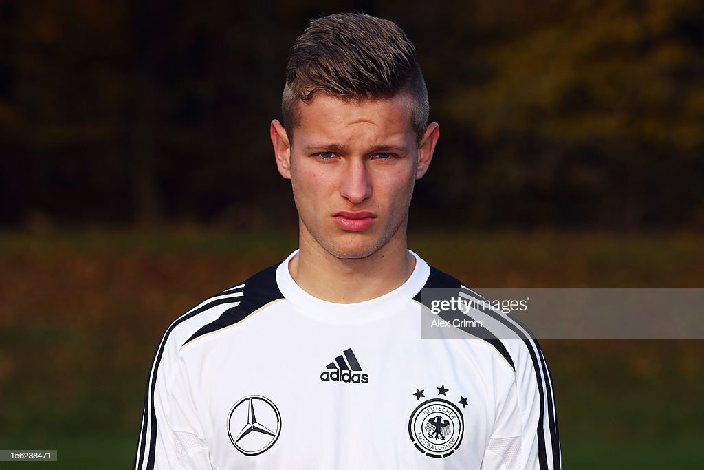 Tim Hoelscher poses during the Germany U18 team presentation at Commerzbank Arena on November 12, 2012 in Frankfurt am Main, Germany.
