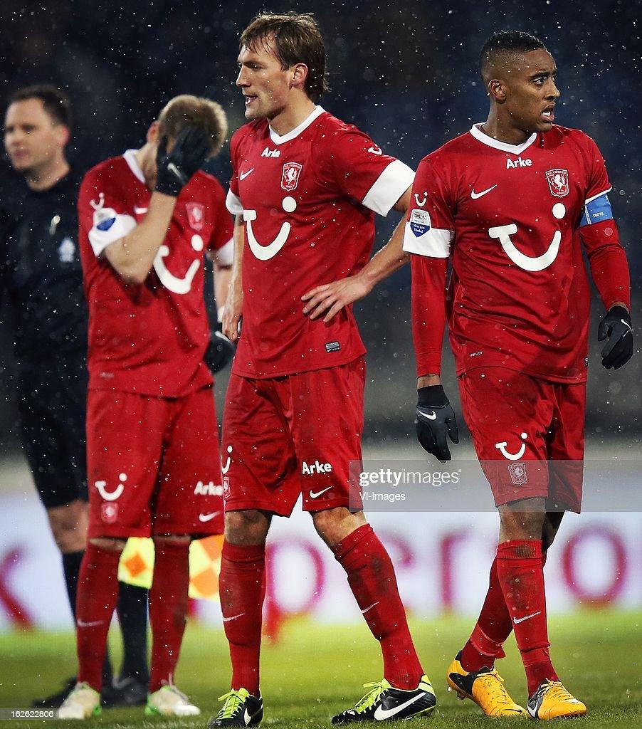 Tim Holscher, Willem Janssen en Leroy Fer during the Dutch Eredivisie Match between SC Heerenveen and FC Twente at the Abe Lenstra Stadium on february 23, 2013 in Heerenveen, The Netherlands