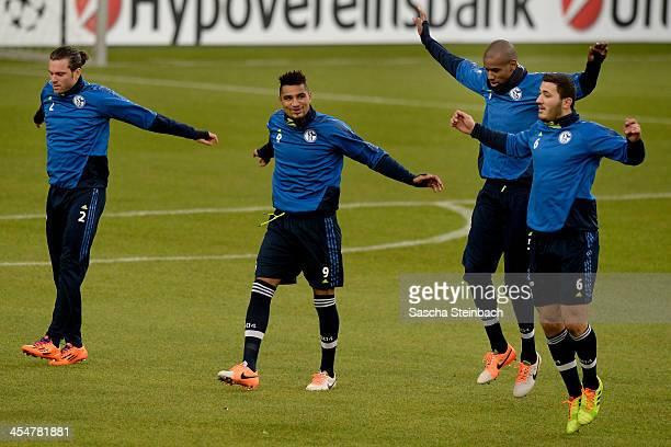 Tim Hoogland KevinPrince Boateng Felipe Santana and Sead Kolasinac during a FC Schalke 04 training session prior to their UEFA Champions League Group...