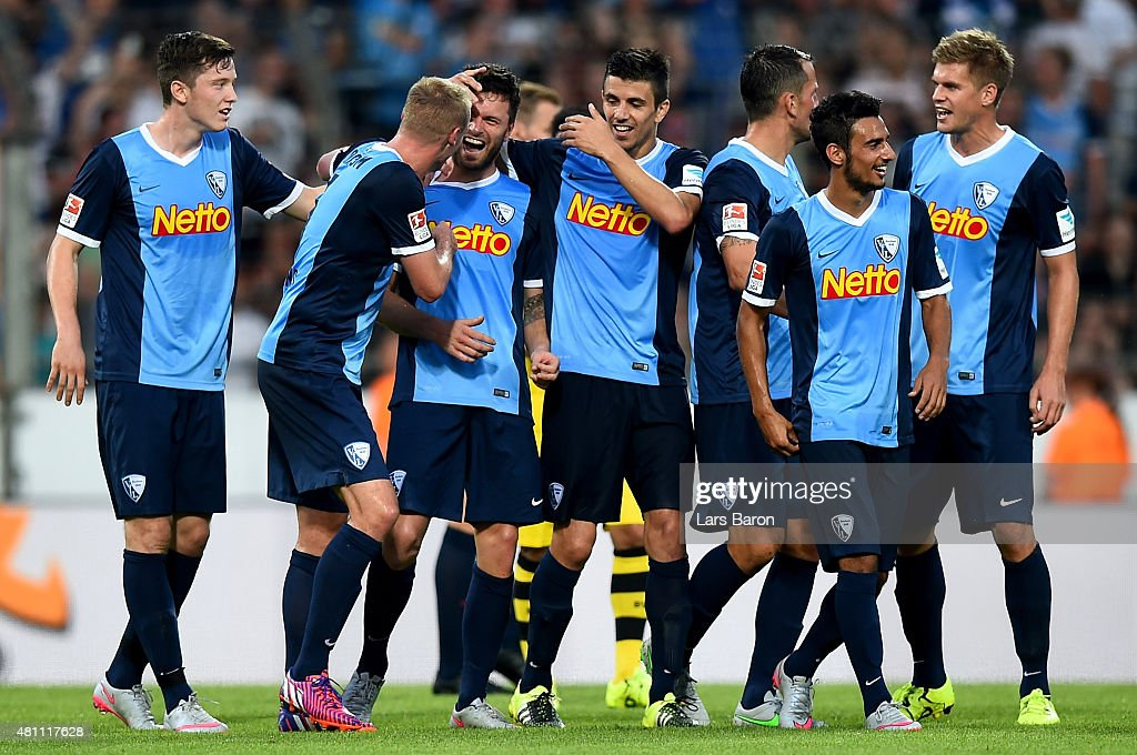 Tim Hoogland of Bochum celebrates with team mates after scoring his team second goal during a preseason friendly match between VfL Bochum and...