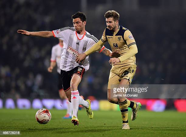 Tim Hoogland of Fulham battles with Luke Murphy of Leeds United during the Sky Bet Championship match between Fulham and Leeds United at Craven...