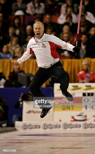 Glenn Howard's Ontario rink leads Brad Gushue's Newfoundland and Labrador rink 107 after scoring 3 in the 9th March 11 2007 at Copps Coliseum in...