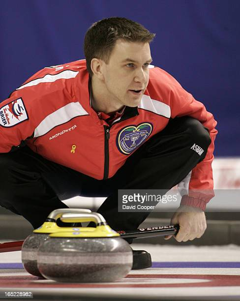 NL Skip Brad Gushue watches a rock closely in the 3rd end Ontario plays Newfoundland and Labrador in the 1 vs 2 game of the page system playoff...