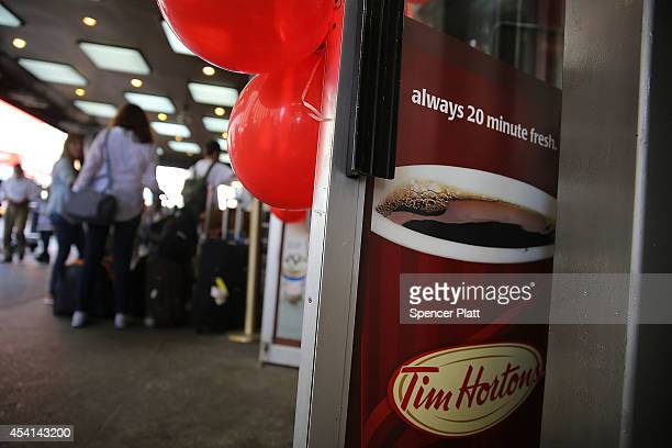 Tim Horton's cafe is viewed in Manhattan on August 25 2014 in New York City It has been confirmed that American fast food giant Burger King is in...