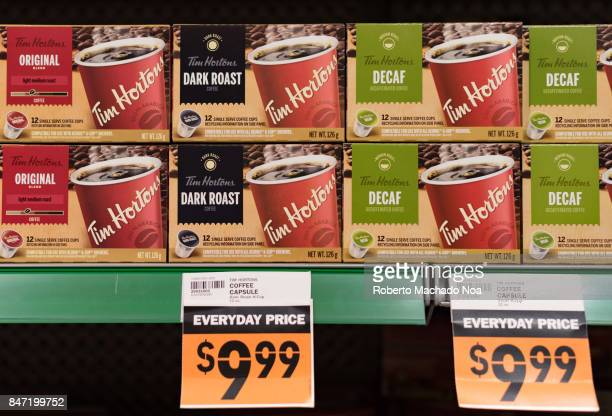 Tim Horton's coffee packs on display in store shelf The price tag for original decaf and dry roast varieties