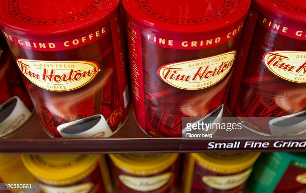 Tim Hortons Inc coffee is displayed for sale at a restaurant in Toronto Ontario Canada on Wednesday Aug 3 2011 Tim Hortons Inc is a chain of...