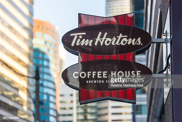Tim Hortons sign which is a famous restaurant in Canada known for its coffee and doughnuts It has expand its operation in other countries and has...