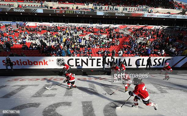 Tim Horton's Timbits minor hockey players skate before the 2017 Scotiabank NHL Centennial Classic game at Exhibition Stadium on January 1 2017 in...