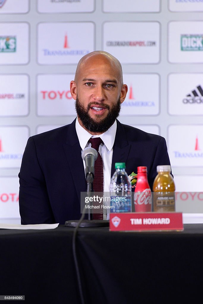 <a gi-track='captionPersonalityLinkClicked' href=/galleries/search?phrase=Tim+Howard+-+Soccer+Player&family=editorial&specificpeople=11515558 ng-click='$event.stopPropagation()'>Tim Howard</a> is introduced as a member of the Colorado Rapids during a press conference at Dick's Sporting Goods Park on June 28, 2016.