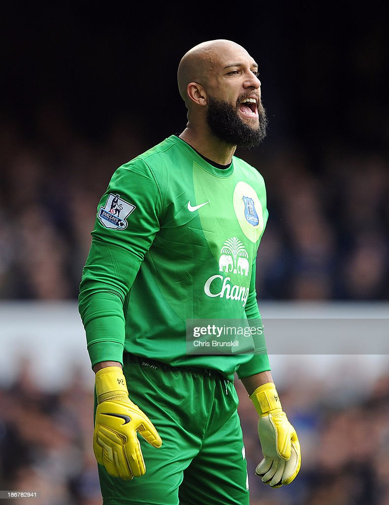 <a gi-track='captionPersonalityLinkClicked' href=/galleries/search?phrase=Tim+Howard+-+Soccer+Player&family=editorial&specificpeople=11515558 ng-click='$event.stopPropagation()'>Tim Howard</a> of Everton looks on during the Barclays Premier League match between Everton and Tottenham Hotspur at Goodison Park on November 03, 2013 in Liverpool, England.
