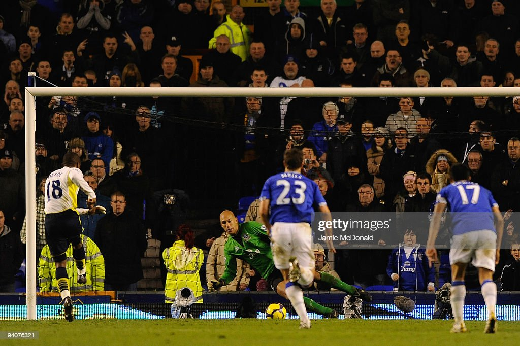 Tim Howard of Everton saves the penalty kick of Jermain Defoe of Tottenham Hotspur during the Barclays Premier League match between Everton and Tottenham Hotspur at Goodison Park on December 6, 2009 in Liverpool, England.