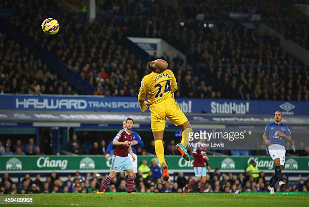 Tim Howard of Everton watches the ball loop over his head after a shot by Mauro Zarate of West Ham United for the equalising goal during the Barclays...