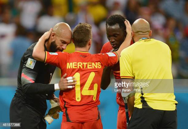 Tim Howard of the United States and Romelu Lukaku Anthony Vanden Borre and Dries Mertens of Belgium applaud after the 2014 FIFA World Cup Brazil...