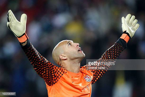 Tim Howard of the United States celebraes after Michael Bradley scores his side's second goal during the 2010 FIFA World Cup South Africa Group C...