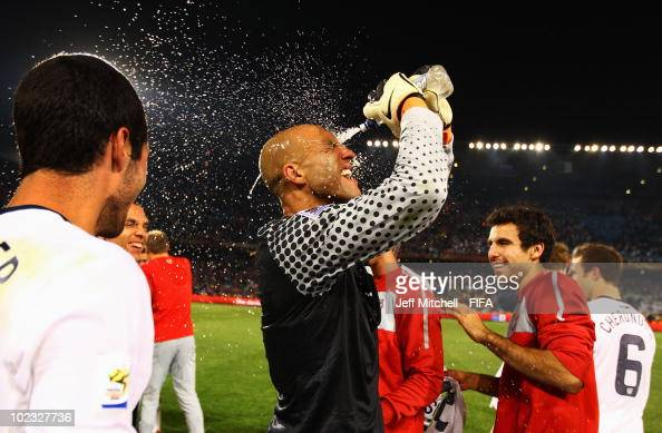 Tim Howard of the United States celebrates after the 2010 FIFA World Cup South Africa Group C match between USA and Algeria at the Loftus Versfeld...