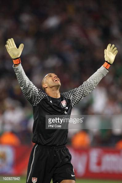 Tim Howard of the United States celebrates after victory that sends the USA through to the second round during the 2010 FIFA World Cup South Africa...