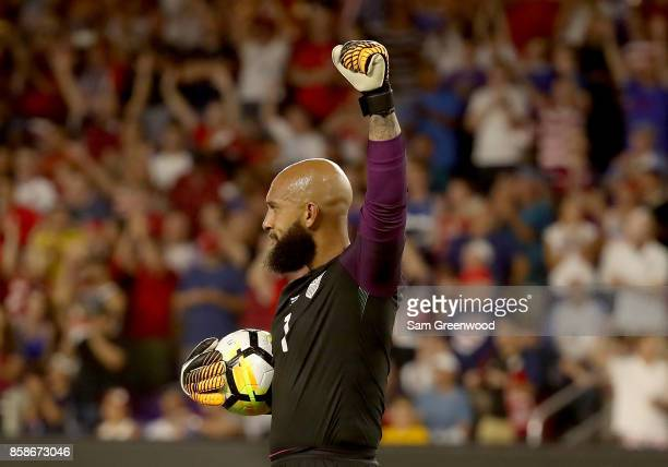 Tim Howard of the United States celebrates following the final round qualifying match against Panama for the 2018 FIFA World Cup at Orlando City...