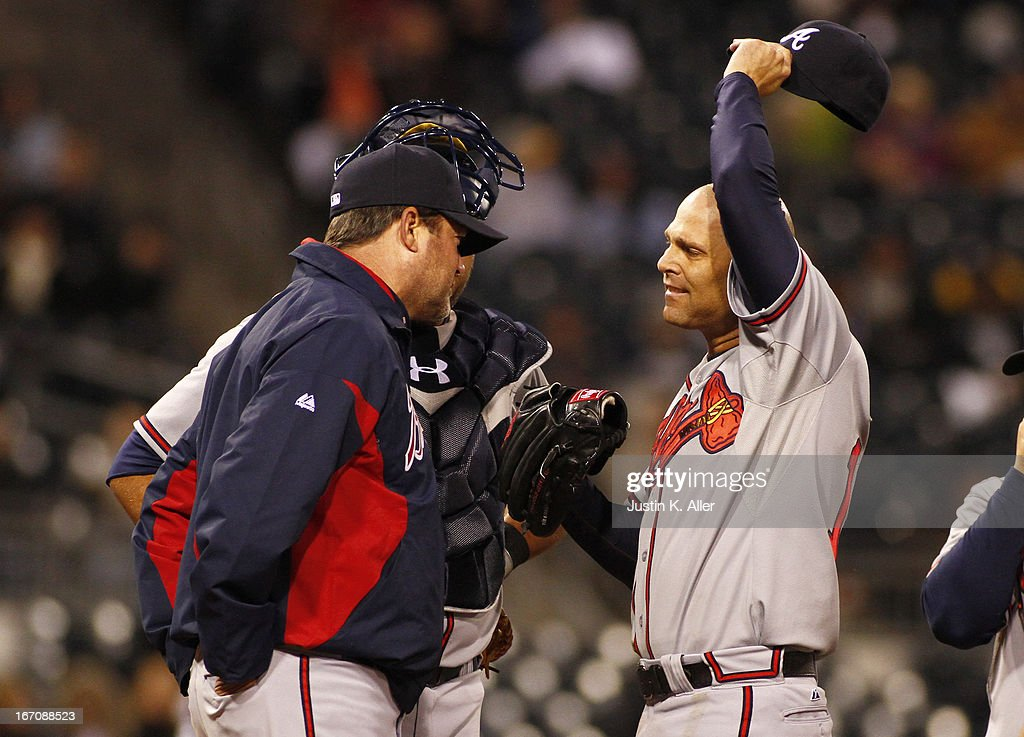 <a gi-track='captionPersonalityLinkClicked' href=/galleries/search?phrase=Tim+Hudson&family=editorial&specificpeople=203108 ng-click='$event.stopPropagation()'>Tim Hudson</a> #15 of the Atlanta Braves reacts while giving up three runs in the fifth inning against the Pittsburgh Pirates during the game on April 19, 2013 at PNC Park in Pittsburgh, Pennsylvania.