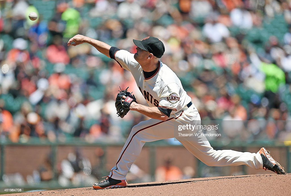 <a gi-track='captionPersonalityLinkClicked' href=/galleries/search?phrase=Tim+Hudson&family=editorial&specificpeople=203108 ng-click='$event.stopPropagation()'>Tim Hudson</a> #17 of the San Francisco Giants pitches in the top of the first inning against the Oakland Athletics at AT&T Park on July 10, 2014 in San Francisco, California.